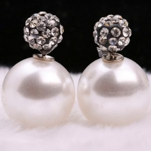 White Pearl And Stone Stud