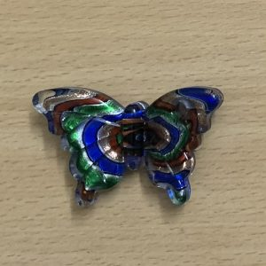 Butterfly Glass Pendant - Green With Blue