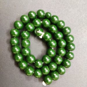 Round Glass Beads - Dark Green