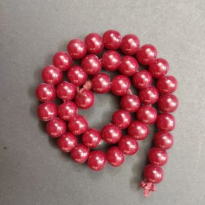 Round Glass Beads - Maroon