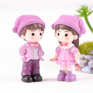 Miniature Purple Colour Cute Boy And Girl With Hat