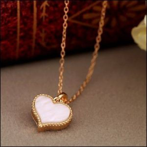 White Enamel Heart Shape Pendant Chain