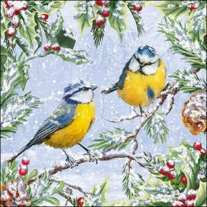 Two Yellow Birds Sitting On Cherry Tree Decoupage Napkin