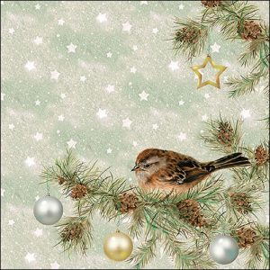 Little Winter Bird In The Tree Decoupage Napkin