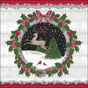 Reindeer And Robin In Wreath Decoupage Napkin
