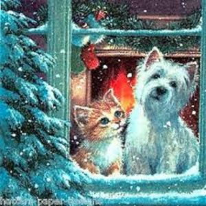 Dog And Cat Winter Scenery Decoupage Napkin