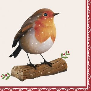 Robin Sitting In Stem Decoupage Napkin