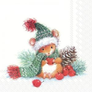 Christmas Mouse With Cherry Decoupage Napkin