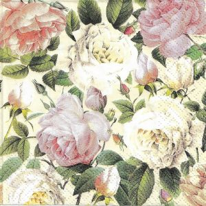 Pastel Flowers With Leaf Decoupage Napkin