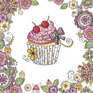Cup Cake With Flower Frame Decoupage Napkin