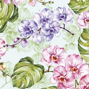 Pink And Purple Orchid With Leaves Decoupage Napkin