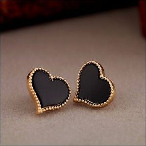 Black Enamel Heart Shape Earrings