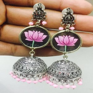 German Silver Lotus Jhumkas