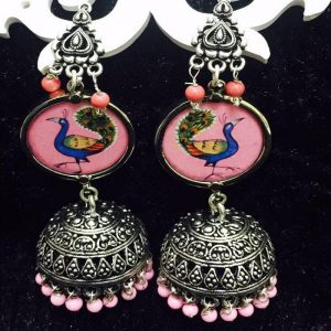 German Silver Lotus And Peacock Jhumkas