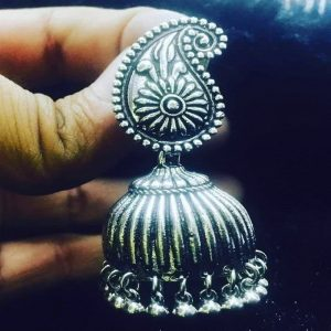 German Silver Teardrop Jhumkas