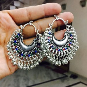 Afghan Earrings - Antique Silver