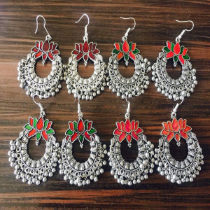 Lotus Motif Chandabali Style Afghan Earrings