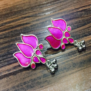 Lotus Earrings - Hot Pink