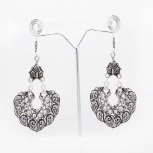 Chandabhali Style German Silver Earrings - White