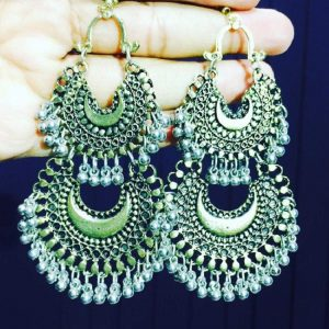 Chandabhali Style Earring - Antique Gold