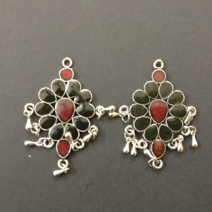 German Silver with Enamel Earrings - Black with Maroon