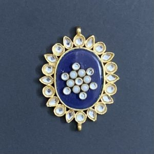Gold Oval Dark Blue Kundan Stone Pendant