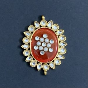 Gold Oval Red Kundan Stone Pendant