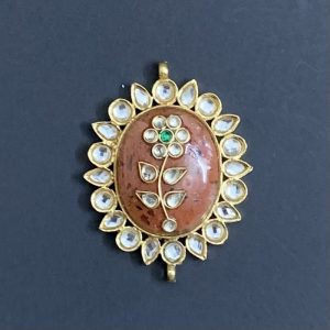 Gold Oval Orange Kundan Stone Pendant