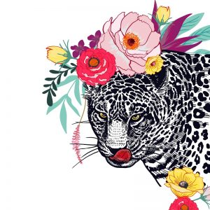 Leopard With Flower Decoupage Napkin