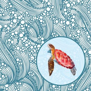 Tortoise Under The Sea Decoupage Napkin
