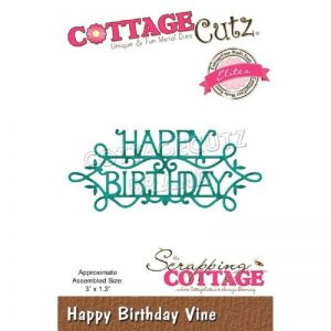Cottage Cutz Elites Die – Happy Birthday Vine