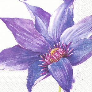 Blue With Purple Shaded Flower Decoupage Napkin