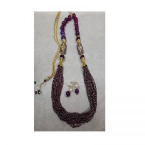 Adjustable Rope With Kundan Beads Necklace - Grape Colour