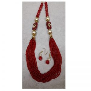 Adjustable Rope With Kundan Beads Necklace - Red