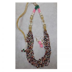 Adjustable Rope With Kundan Beads Necklace - Mixed Colour