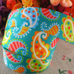 Grosgrain Ribbon - Mango Pattern